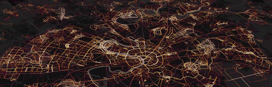 The  Global Heatmap in Moscow, Russia , from the  Strava Engineering Blog .