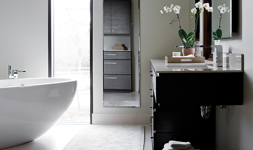 Zen Black and White Bathroom by Erin McKenna Design
