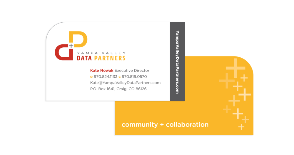 Yampa Valley Data Partners - I designed these business cards as part of a collaborative project with the Yampa Valley Design Camp. Our group of nine designers worked together to create a new brand and marketing materials for a local non-profit, all in just one week.