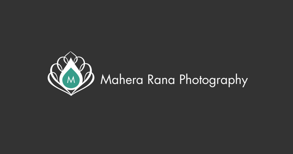 Mahera Rana Photography - This logo for wedding photographer, Mahera Rana, incorporates a peacock feather. The client and I decided that a peacock feather would be a great way to represent her flair for South Asian wedding photography.
