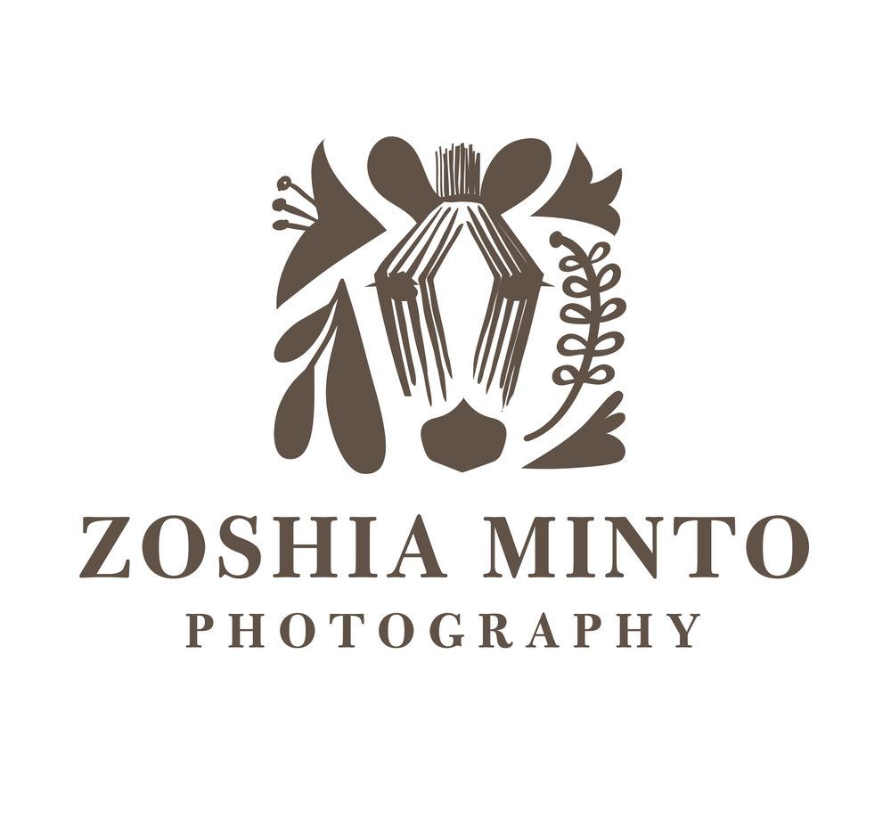 Zoshia Minto Photography - I created this logo for photographer, Zoshia Minto. She wanted a logo that would appeal to wedding photography clients yet feel personal at the same time. She wanted to incorporate a zebra into the logo, a reminder of her childhood in Kenya. I used the face of a zebra in a subtle and abstract way. I took a hand drawn approach, creating many options before translating the final logo into a digital format.