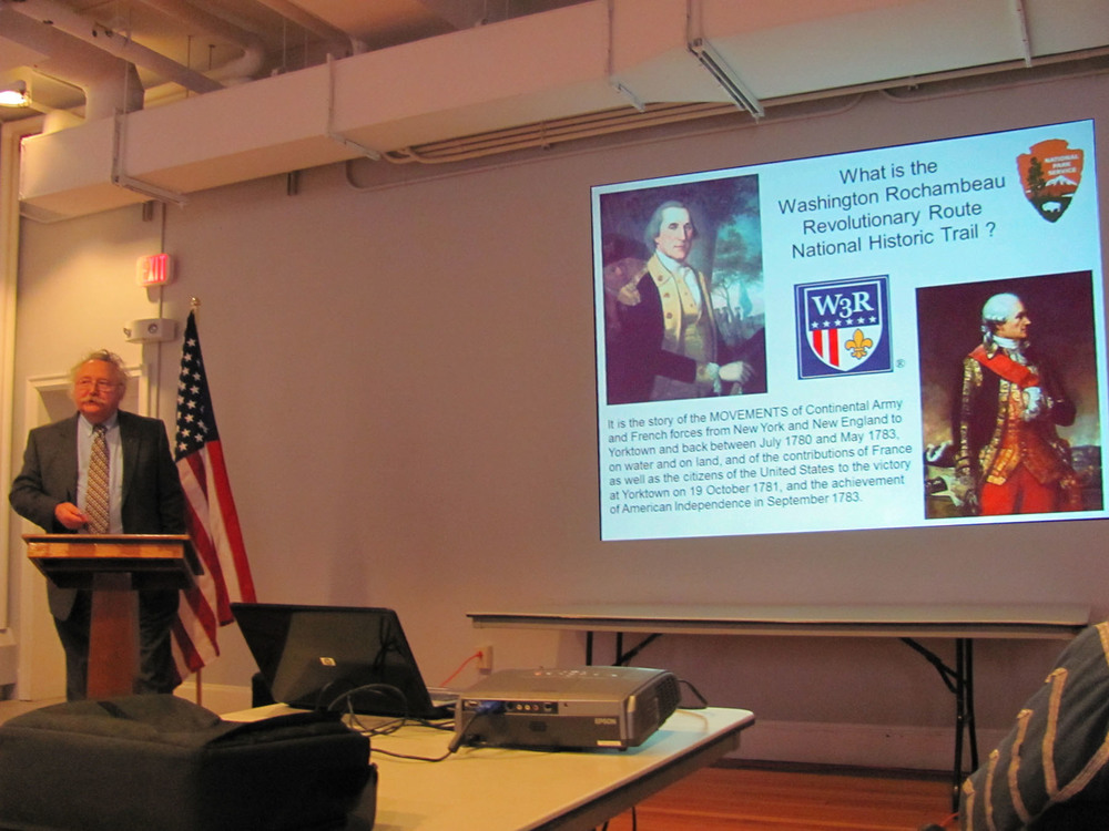 Historian Robert Selig lectures in the Bunker Hill Museum