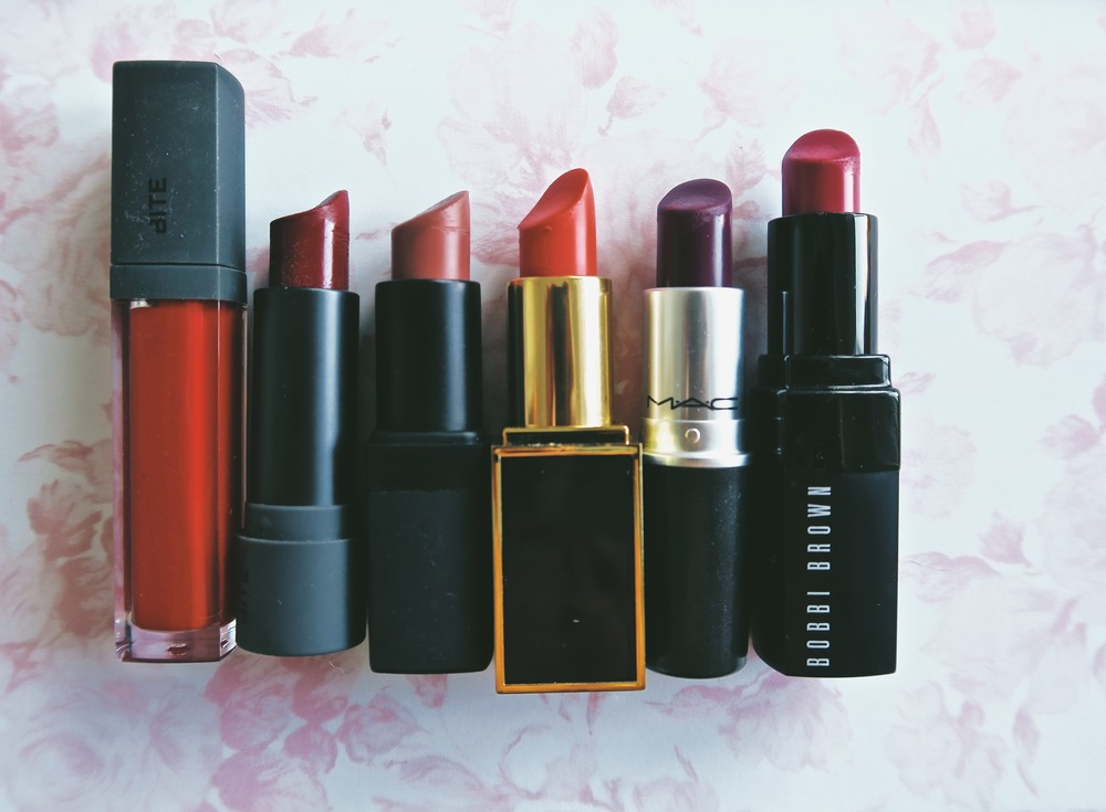 Left to right: Bite in Rioja, Bite in Mulberry, Nars Dolce Vita, Tom Ford  in Coral, MAC Rebel, Bobbi Brown Cosmic Raspberry
