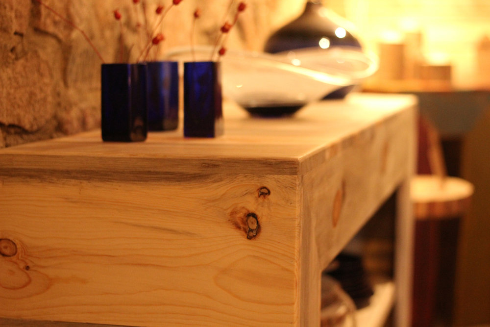 Beetle Kill Blue Stain Pine Console Table