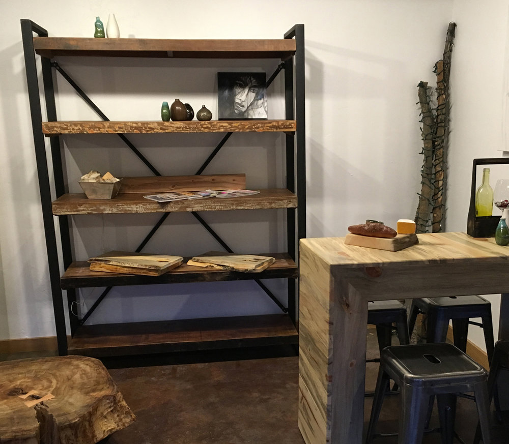 Steel and reclaimed wood shelf & Beetle Kill Breakfast Bar.jpg