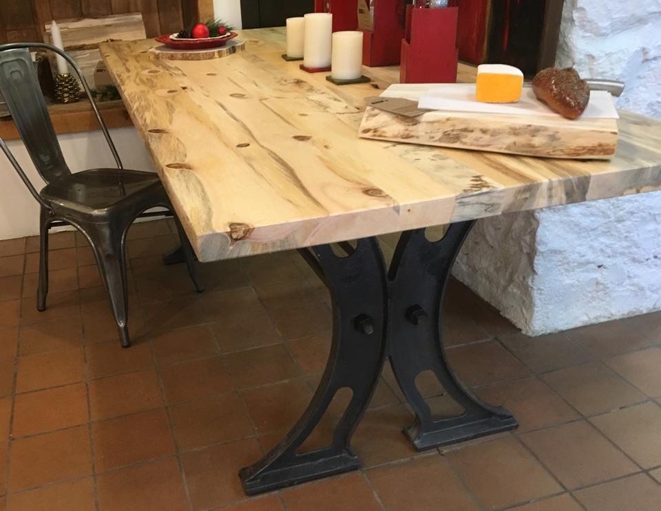 Beetle Kill Blue Stain Pine Cast Iron Dinner Table