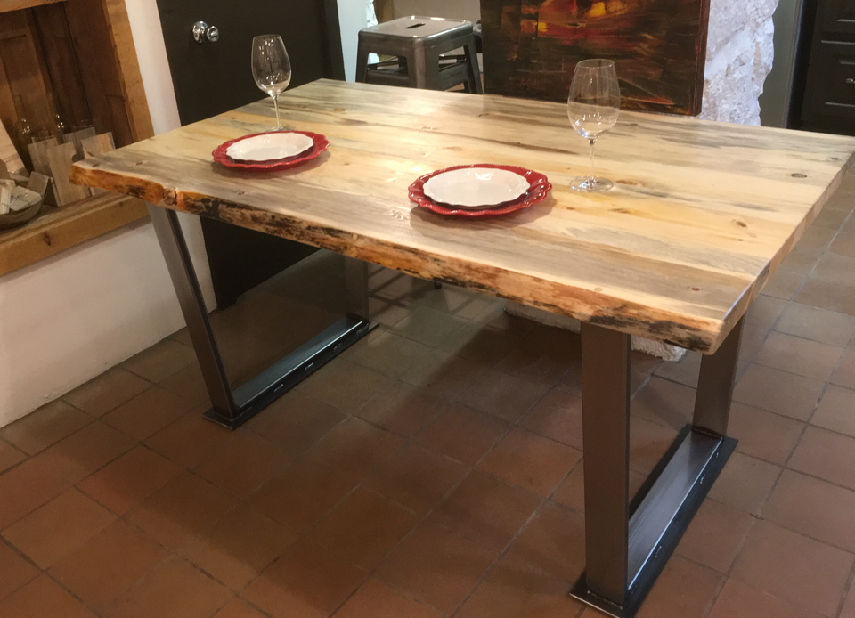 Beetle Kill Blue Stain Pine Live Edge Dinner Table With Welded Legs