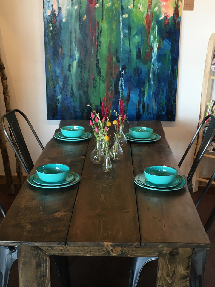 Reclaimed barn-wood finish dining table - $1850
