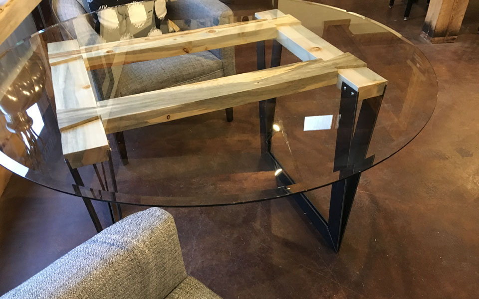 Beetle kill pine steel leg glass top round diner table - $1850