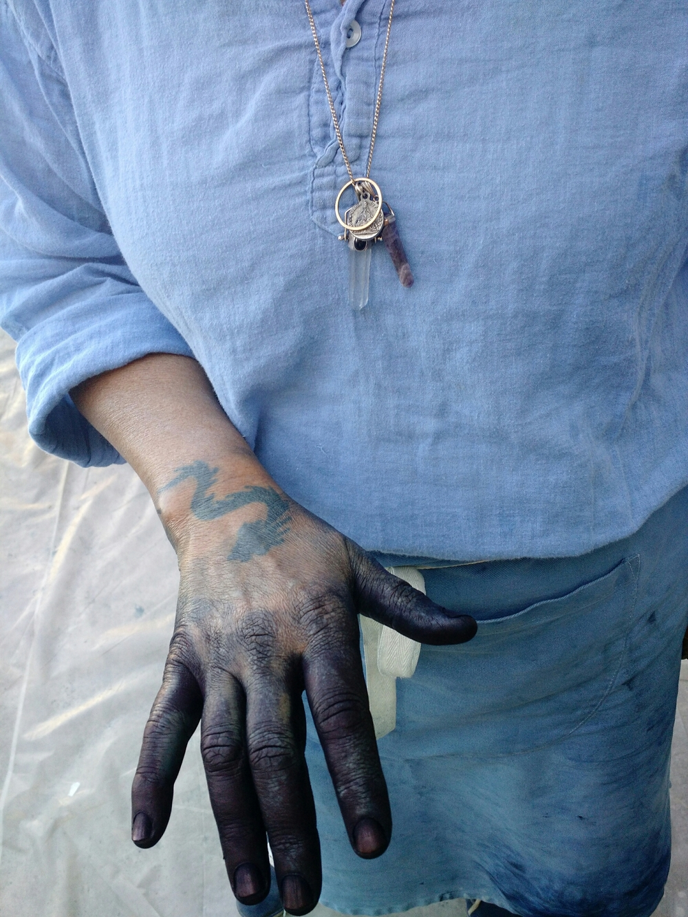 Denise Lambert's beautiful blue hand. A true artist's hand.