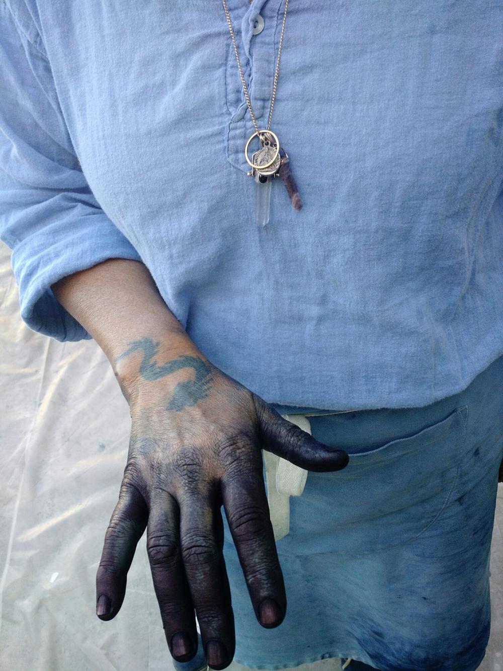 Denise Lambert's beautiful blue hand. A true artist's hand.