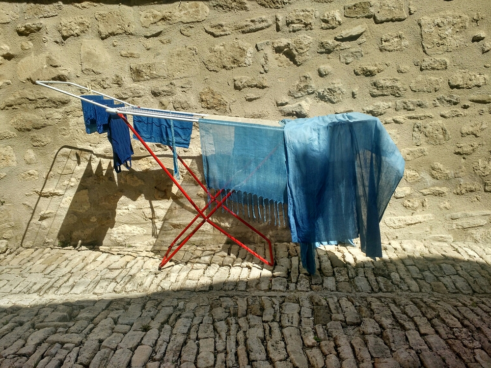 In the sun to dry.