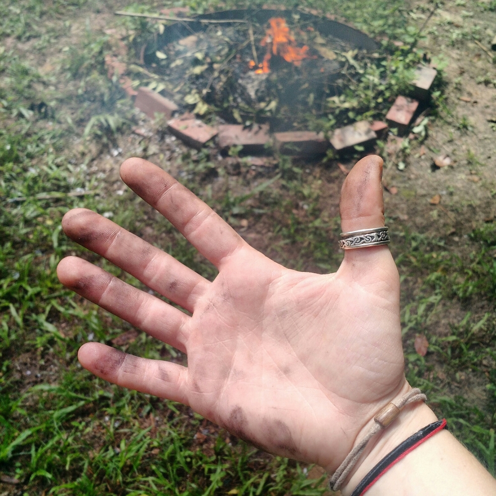 Working in the firepit on the homeplace.