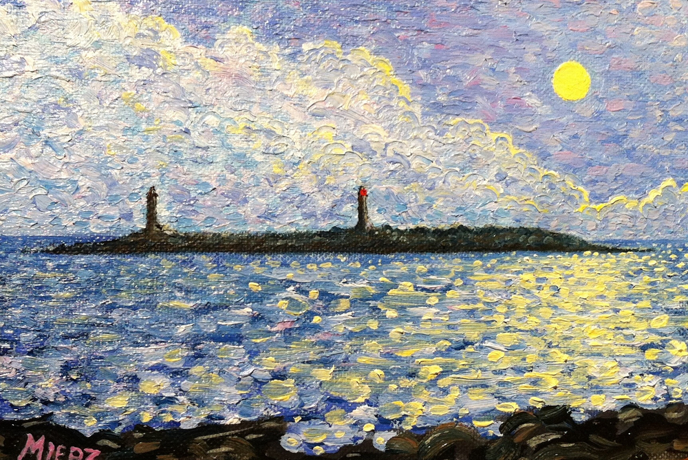 Moon Light over Thacher Island- 5 by 7 in.