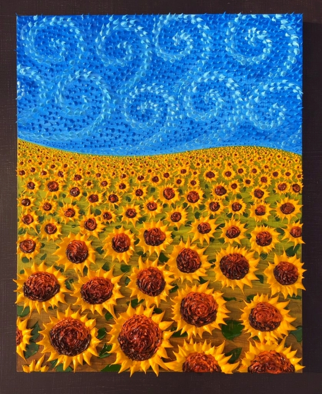 Windy Day with Sunflowers 2015