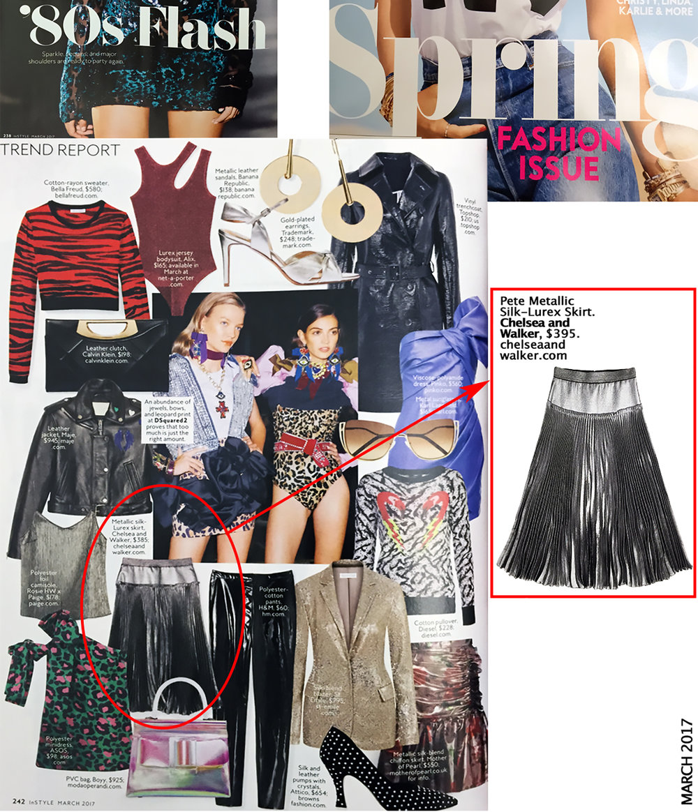 PETE METALLIC SKIRT  |  InStyle Magazine March 2017 shop