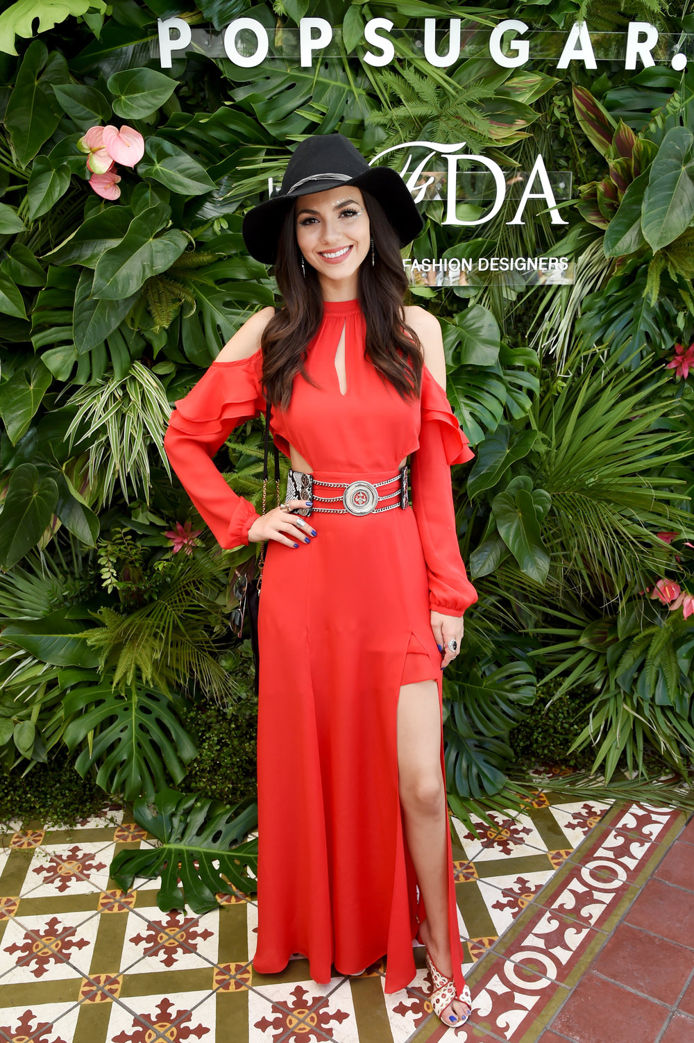 VICTORIA JUSTICE WEARING THE CATROUS MAXI DRESS $448 - CFDA COACHELLA BRUNCH 2017