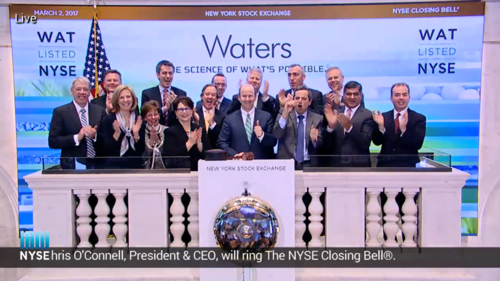 Ding ding ding! Waters celebrating a strong year and its new CEO!