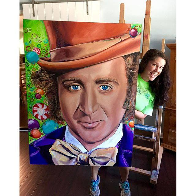 9/6/16 Finished and I love him! #genewilder #everlastinggobstopper #ripgenewilder #charlieandthechocolatefactory #painting #portraiture