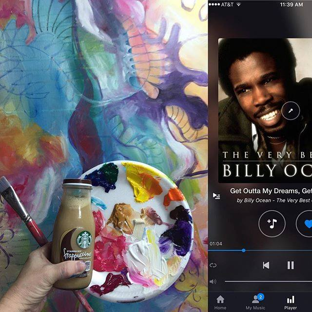 3/12/16 guaranteed slump buster! Gotta love painting to some  #billyocean