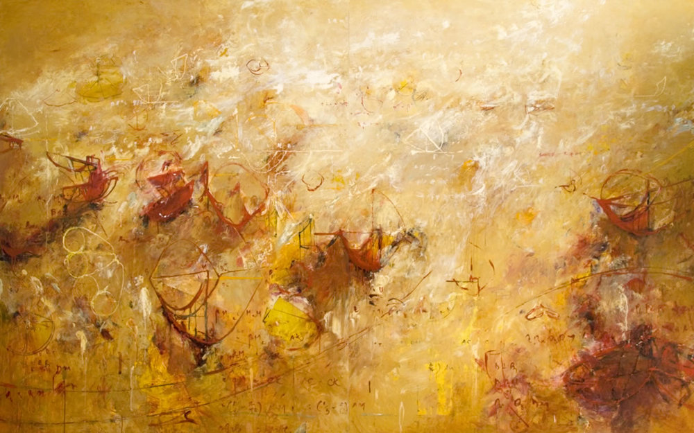 "Archimedes Palimpsest 01  2012, Acrylic on canvas, 60"" x 96"""