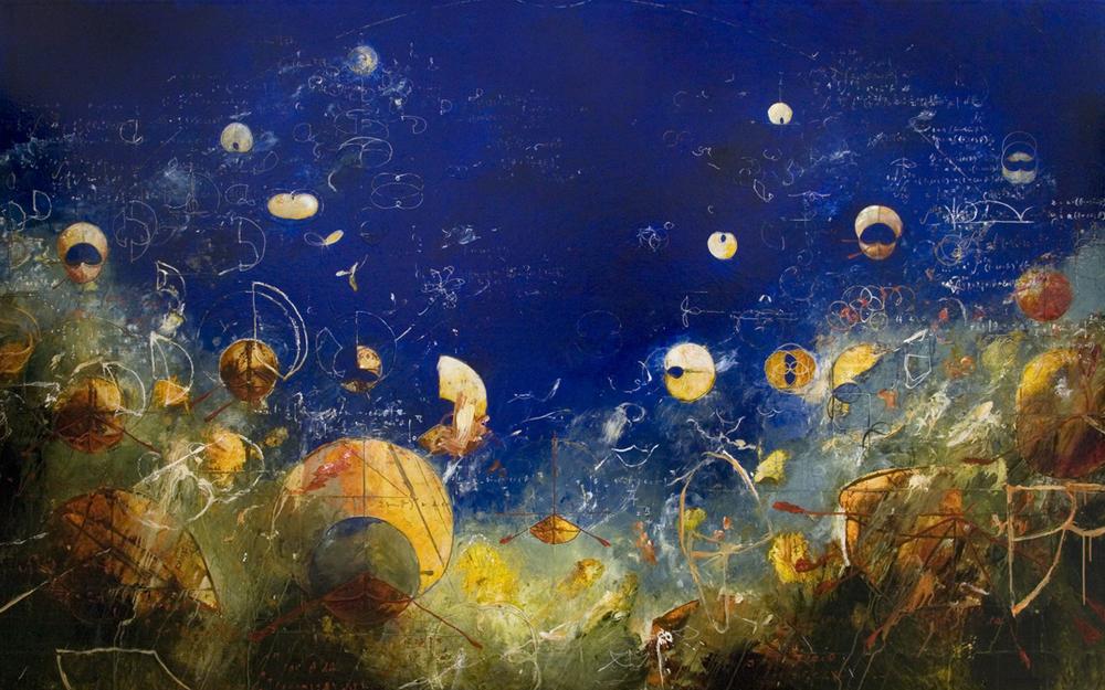 """Dreams of Pythagoras 2014, Acrylic on canvas,60"""" x 96"""""""