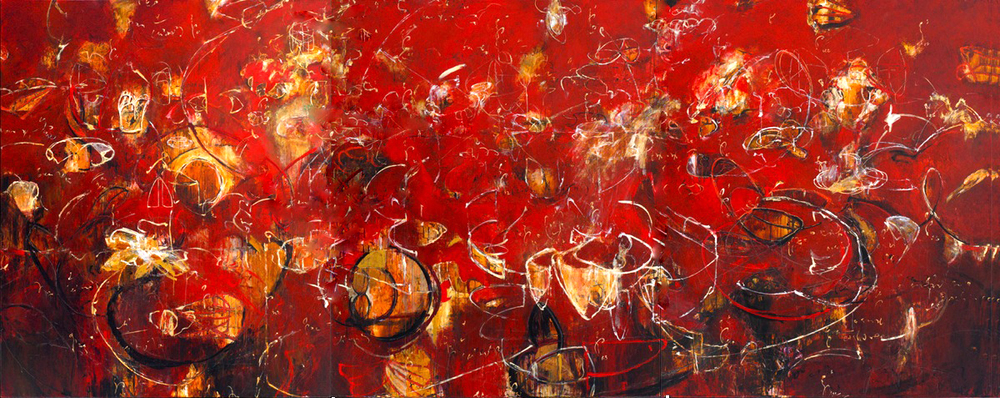 "Red Toroids 08, 09, 10 2006, Acrylic on canvas, 72"" x 180"""