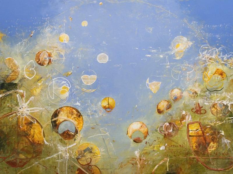 "Seven Petals for Phoinix   2014, Acrylic on canvas, 36"" x 48"""