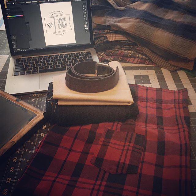 The 2016 @topcontn speaker bags are finally underway! This year's @four_two_three bags consist of a hand printed TC logo on recycled canvas with an upcycled denim pant base, leather belt handles and a cozy repurposed flannel shirt lining! #thelumberjack #reclaimingpurpose #seeyouatthetop #letsmakesomeshit