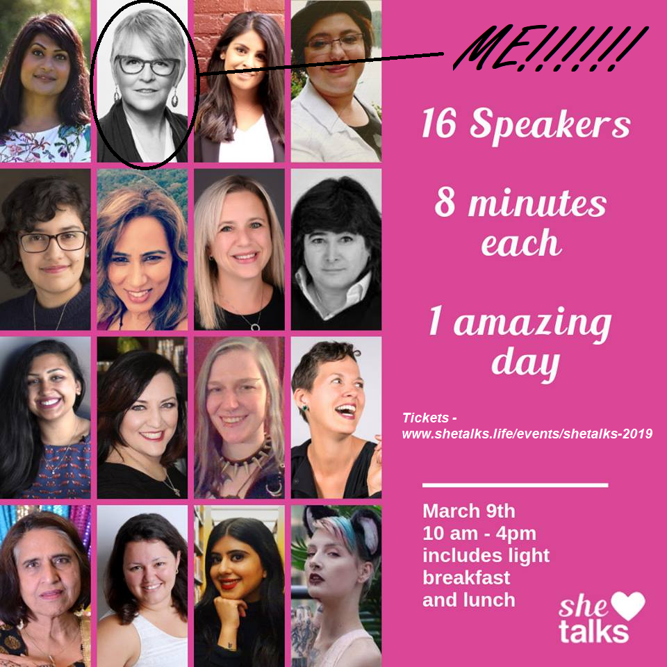 Join me at SHETALKS on March 9th!  So excited to take the stage with all these amazing women! We each have 8 minutes to share. Info and tix at  www.shetalks.life/events/shetalks-2019
