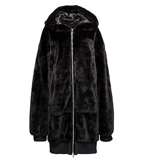 Fenty Oversized Zip-Up Faux Fur Bomber Jacket