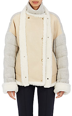 Chloé Jersey-Back Shearling Double-Breasted Coat