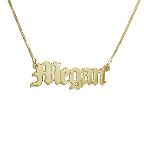 The M Jewelers Gothic Nameplate Necklace