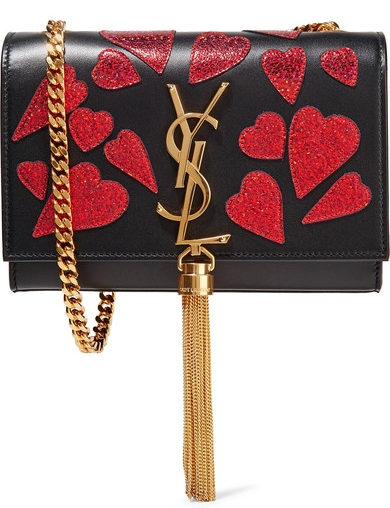 YSL Monogramme Kate small appliquéd leather shoulder bag