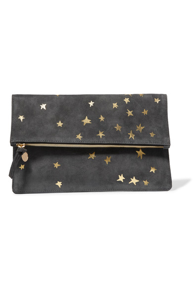 Clare V Margot metallic printed suede clutch