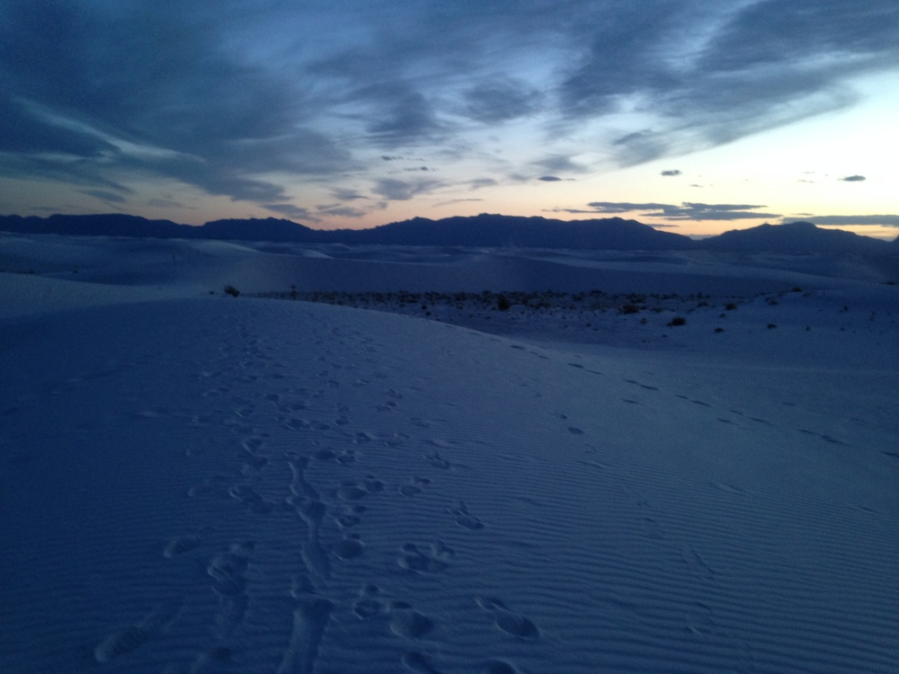 Sunset at White Sands National Monument, in New Mexico. Photo by Kassondra Cloos
