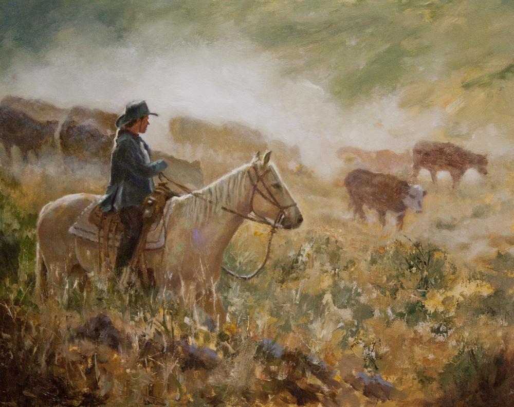 "Tending the Herd, 16 x 20"", $2,700"
