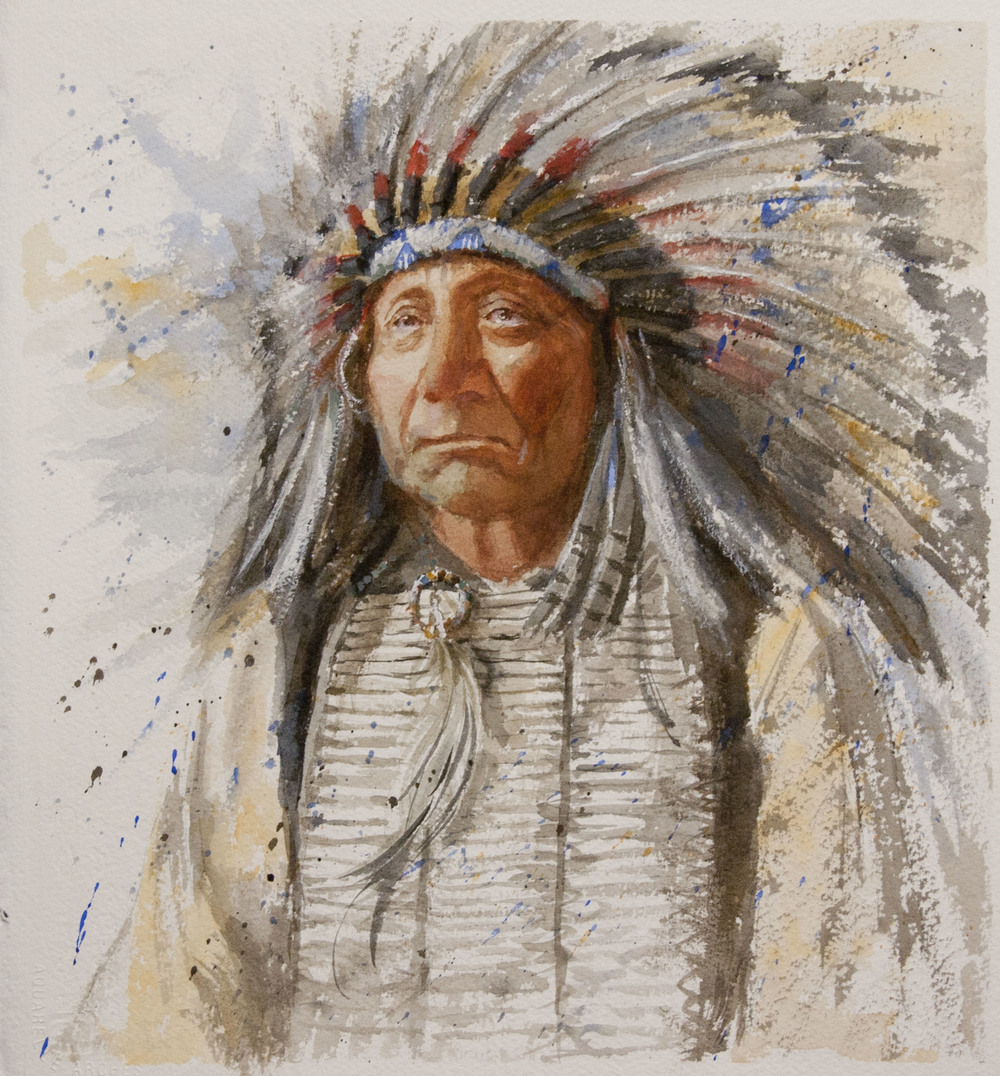 This portrait of a Native American Indian chief is one of Western artist George Paliotto's original watercolor paintings depicting contemporary and historical cowboy life. Contact the artist for more information about purchasing this painting.