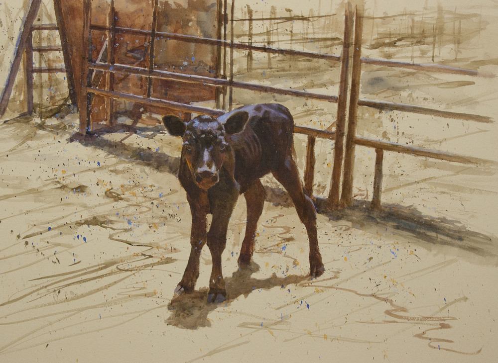 This is one of Western artist George Paliotto's original watercolor paintings depicting contemporary and historical cowboy life. Contact the artist for more information about purchasing this painting.