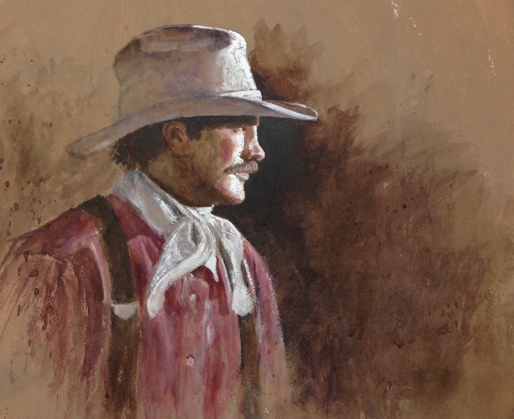 "Cowhand, 13.5 x 16"", $1,600"