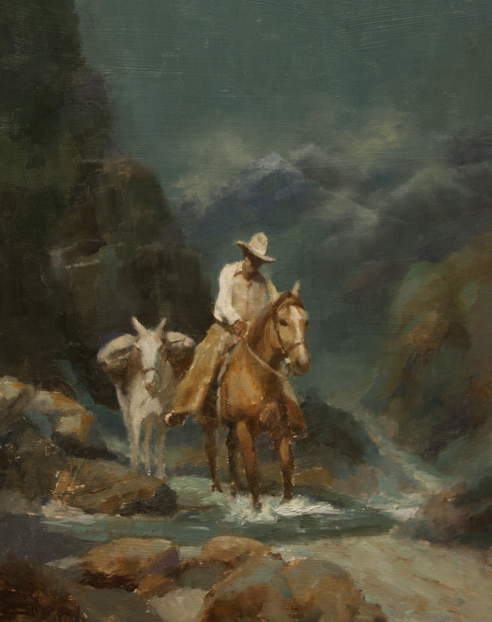 This is one of Western artist George Paliotto's original oil paintings depicting contemporary and historical cowboy life. Contact the artist for more information about purchasing this painting.