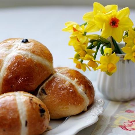 Honey glazed hot cross buns