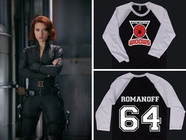 """""""The truth is a matter of circumstance.."""" 🔫  Check out our long sleeved """"Stalingrad Widows"""" unisex baseball tee, inspired by one of our favorite redheads. (Also available in unisex and women's cut poly blend tees!) #blackwidow #avengers #romanoff 🕷  http://www.geekedoutfitness.com/shop/stalingrad-widows"""