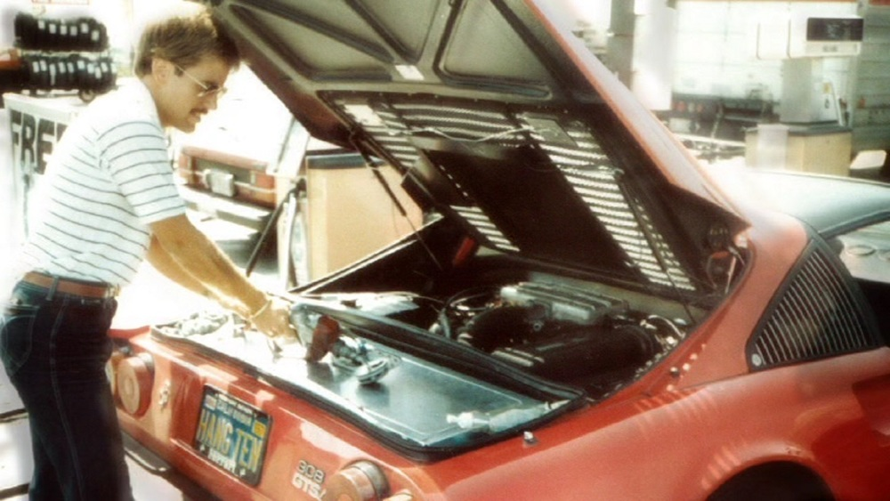 David Diem preps the winning Ferrari 308. David and Doug Turner made record time, racing from New York to Los Angeles in 32 hours, 7 minutes.