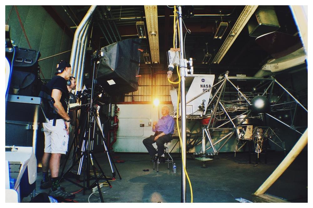 Director Cameron Tucker interviews Donald Malick while Brad Haskell camera operates.