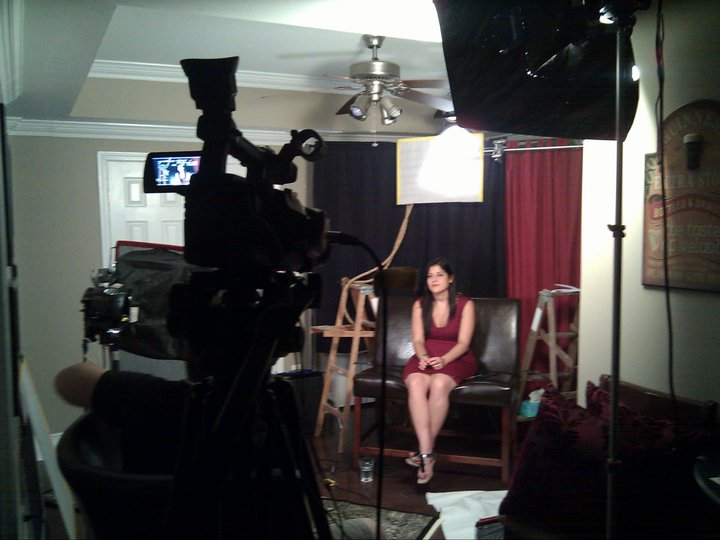 Jordan and David interviewing Malissa Bastone for the documentary.