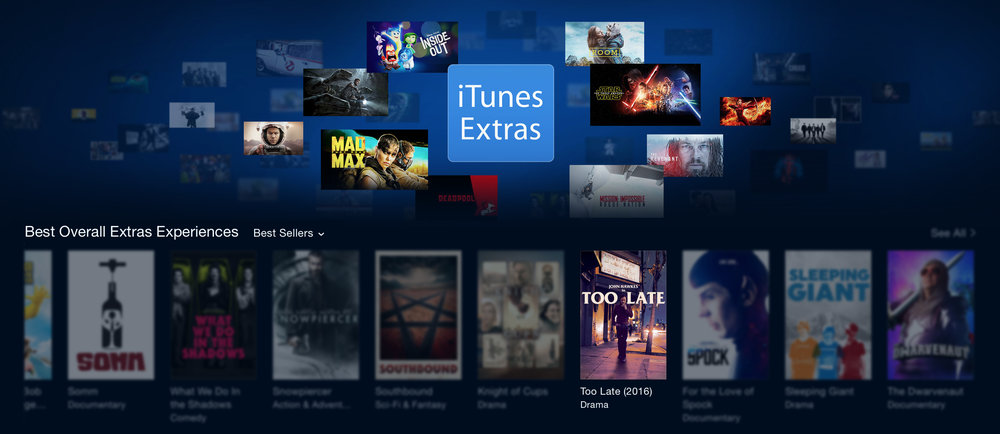 iTunes rated Too Late as having one of the Best Overall Extras Experience.