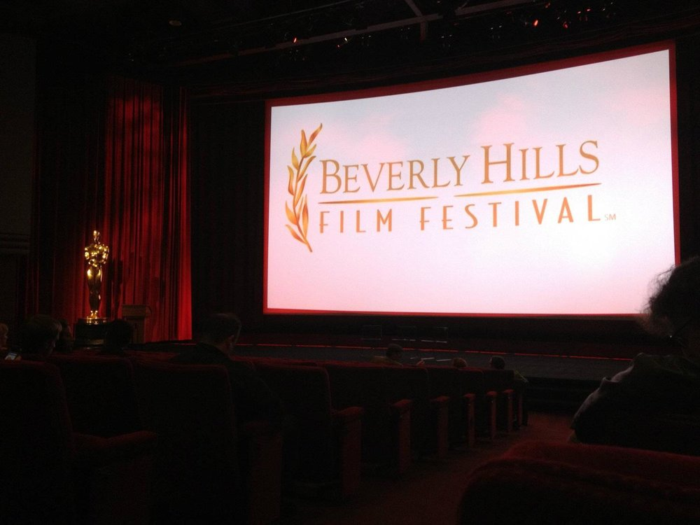 Moments before the opening night film at the Beverly Hills Film Festival in the Samuel Goldwyn Theater.