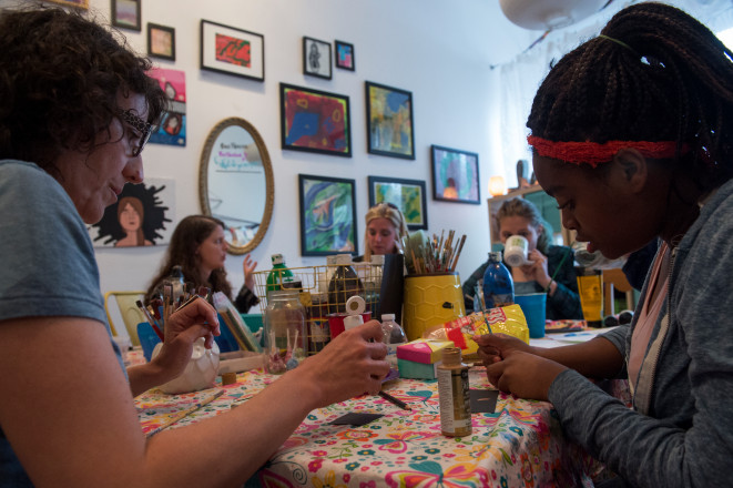 Denver Post visits our lil ladies teen art studio: EMMANUELLE AUZAIS & REIGN PATTON WORK ON ORIGAMI BOX PROJECT. Read more about the Teen Art Studio and Violet Hive here, http://www.denverpost.com/2017/04/25/violet-hive-art-therapy/