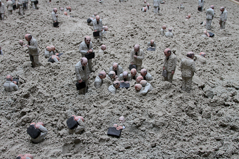 Follow the leaders by Isaac Cordal